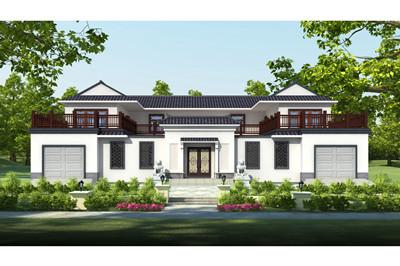 300多平中式二层四合院别墅设计图,带双车库设计