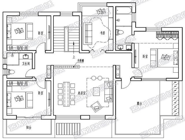 面宽17米带院子新中式二层独栋别墅,这样设计每层楼有3个卧室