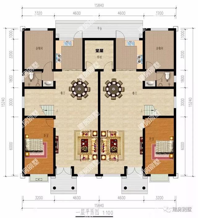 客厅挑空设计的两栋双拼别墅,第一栋宽15米多,照样很气派
