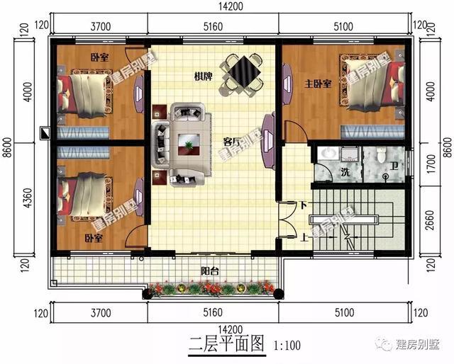 深度为8.6米的两栋农村别墅,都是欧式风格,第二栋厨房单独建