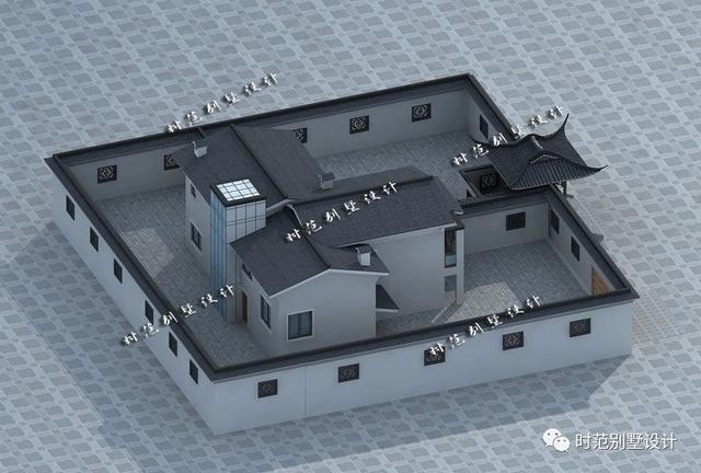 15x13米二层中式别墅,4室3厅带庭院,一廊一檐都是家的模样