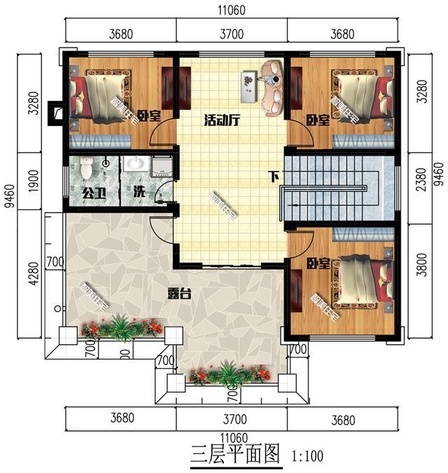 11×9.46米三层别墅,外观简单新中式,室内设计9间卧室