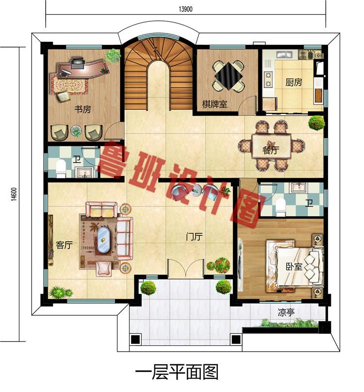 大户型二层小洋楼设计图纸,外观华丽,温馨舒适。