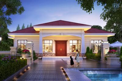 一层农村自建平房别墅设计图,外观时尚,18万左右
