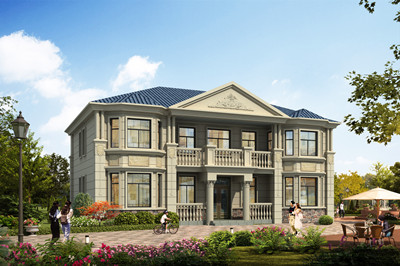 造价30万左右欧式二层农村小别墅设计图,配色比较低调