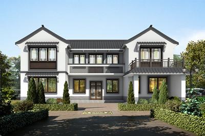 2020年新款中式小二层三合院别墅户型方案图,带堂屋和车库