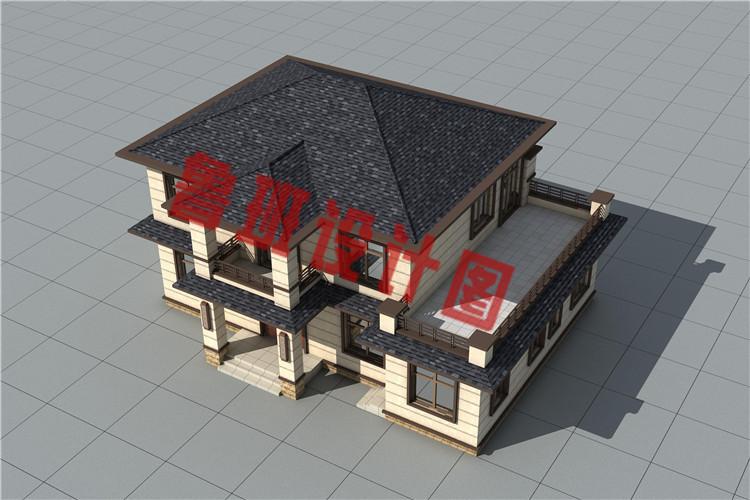二层新中式农村别墅设计外观图