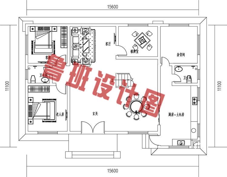 二层新中式农村别墅设计一层户型图