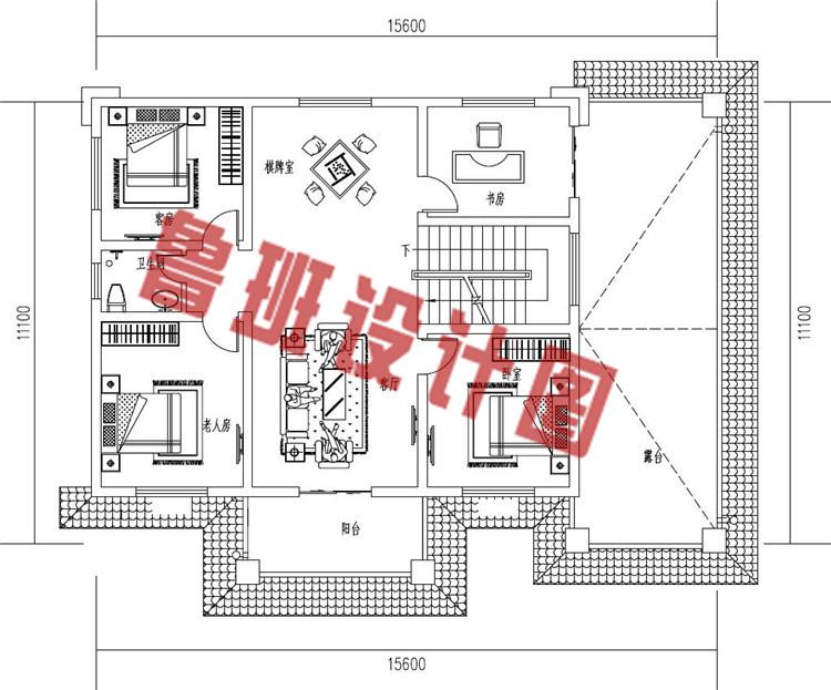 二层新中式农村别墅设计二层户型图
