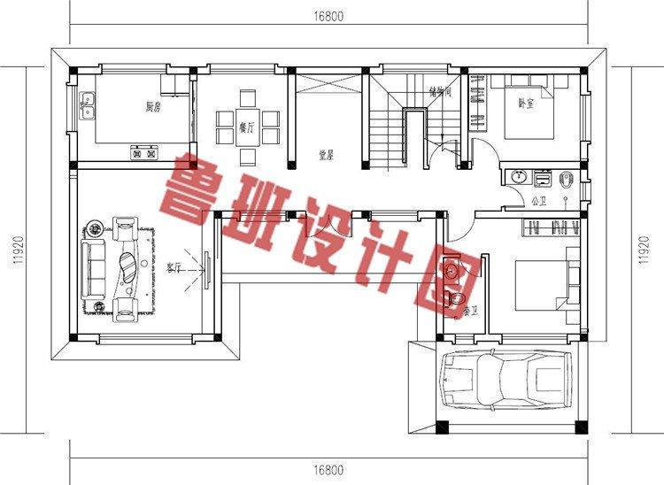 2019年新款中式小二层三合院别墅设计一层户型图
