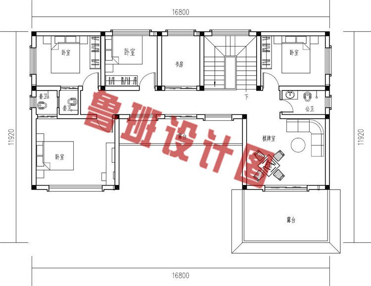 2019年新款中式小二层三合院别墅设计二层户型图