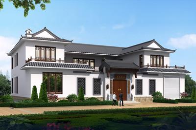 带车库农村自建二层中式四合院别墅设计图,砖混结构设计