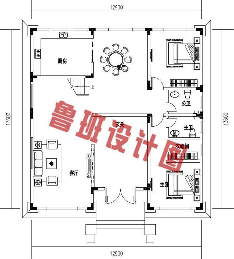 好看简单农村四层简欧式别墅设计一层户型图
