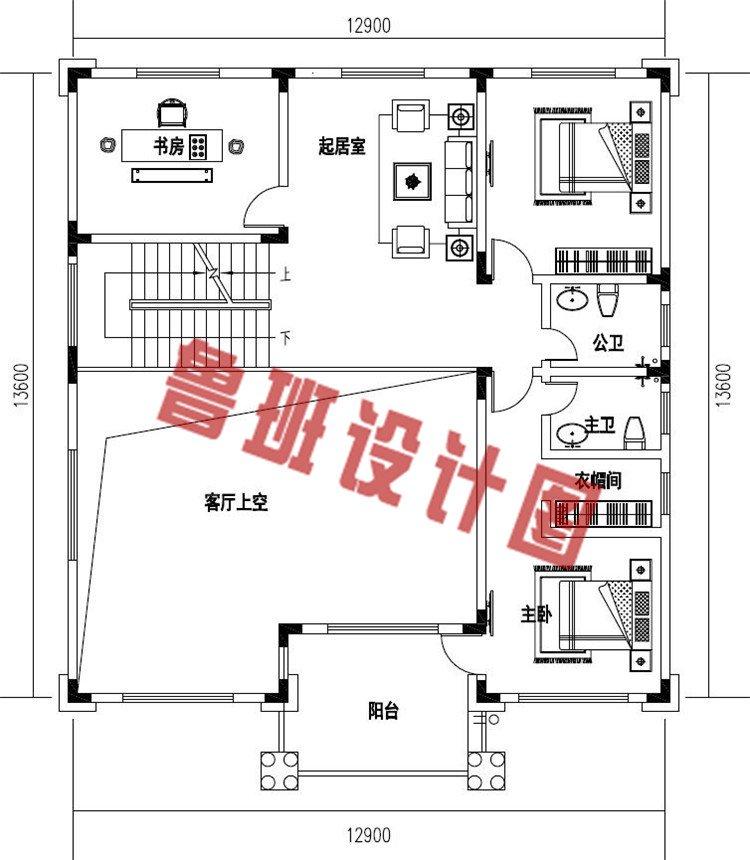 好看简单农村四层简欧式别墅设计二层户型图