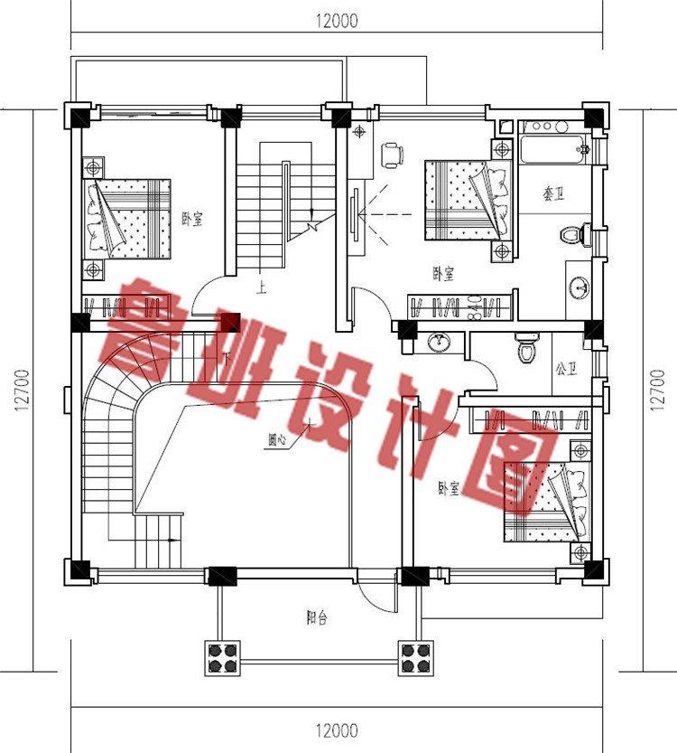 欧式四层框架结构农村楼房设计二层户型图