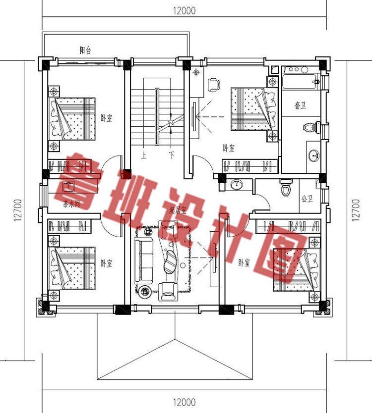 欧式四层框架结构农村楼房设计三层户型图