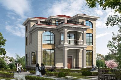三层简欧式乡村别墅全套设计图,130平方户型,外观图片配色简单