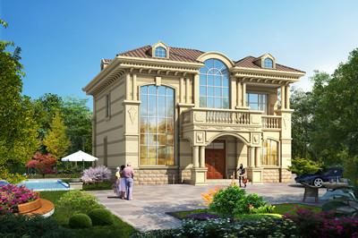 二层精致豪华欧式别墅楼房设计图,外观大气亮眼