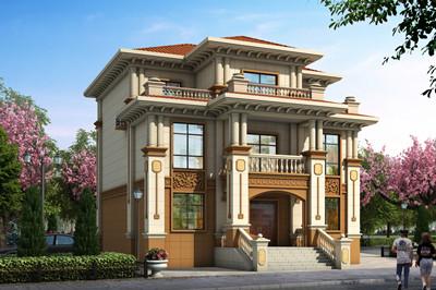 农村三层欧式豪华小别墅自建房设计图,带超大卫生间,外观配色