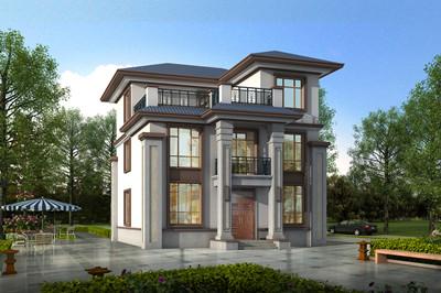 新农村中式120平三层洋楼别墅设计图,客厅中空设计