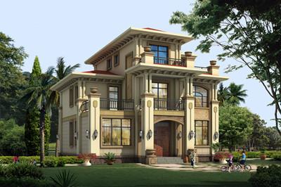农村两层半欧式自建别墅全套设计施工图,含外观效果图