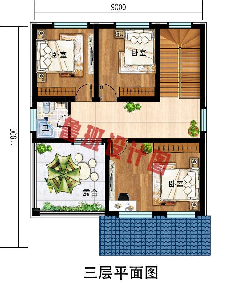 简约三层别墅房屋设计图,开间9米自建房小户型