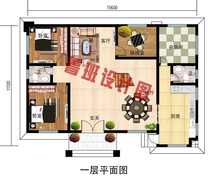 二层新中式农村别墅设计图效果图,带土灶