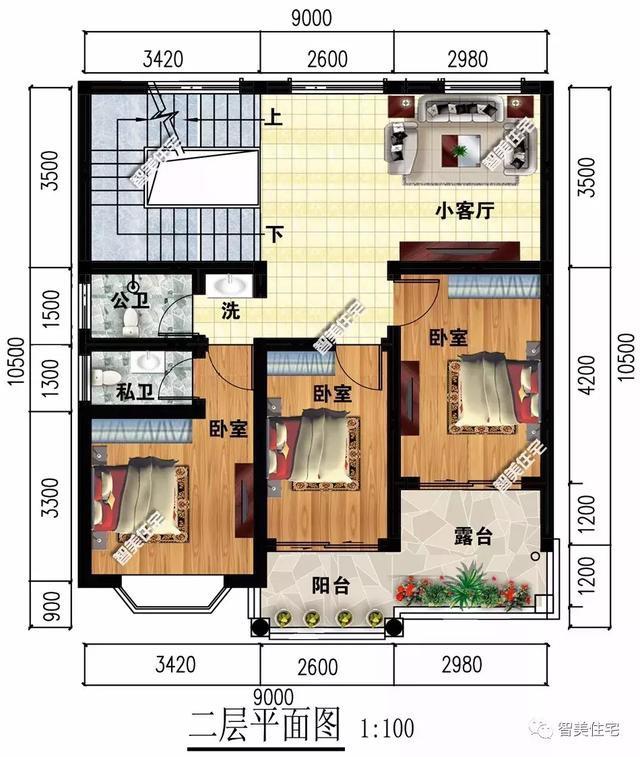 2栋宽9米的农村别墅,欧式外观都很精致,第二栋平屋顶造价低
