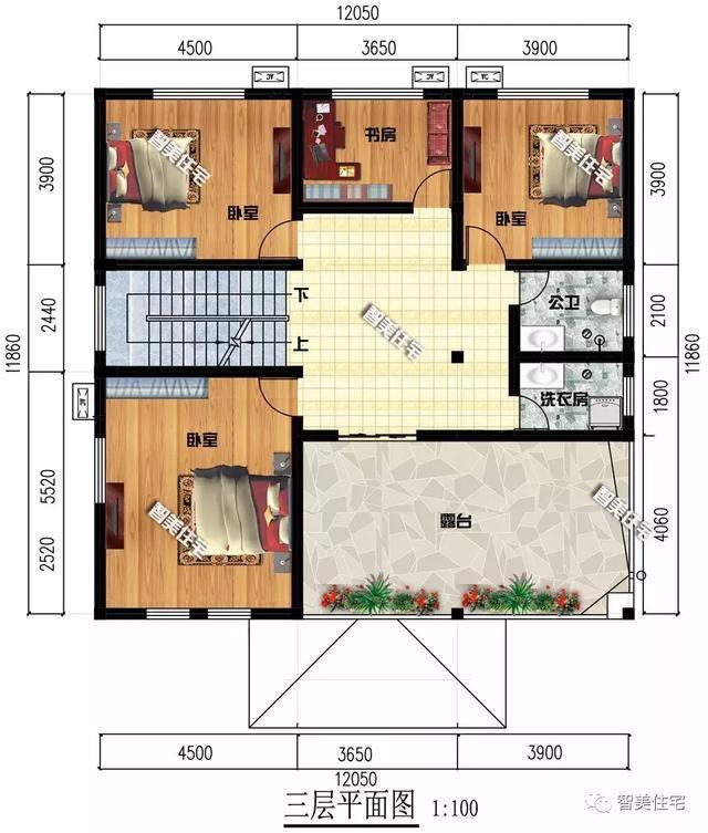 12×11.86米农村别墅,户型简单布局好,造价38万