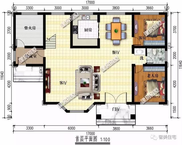 30万建新中式别墅,配多边形窗采光好,布局看了没话说