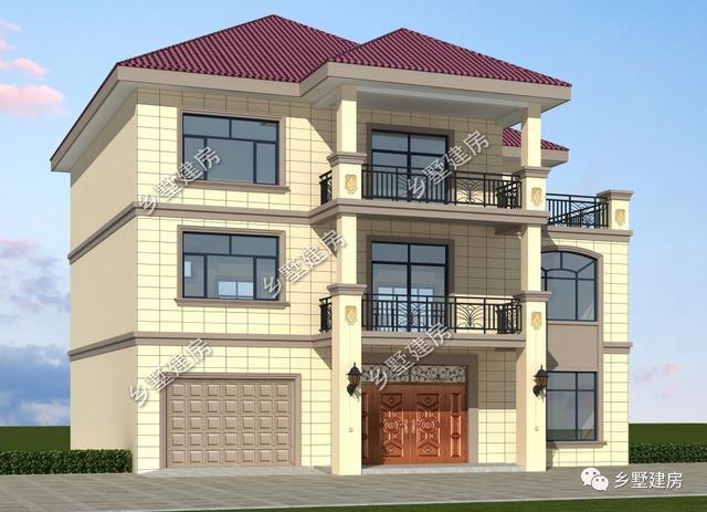 14.8×12米三层漂亮别墅,带车库,农村建一栋人人都称赞