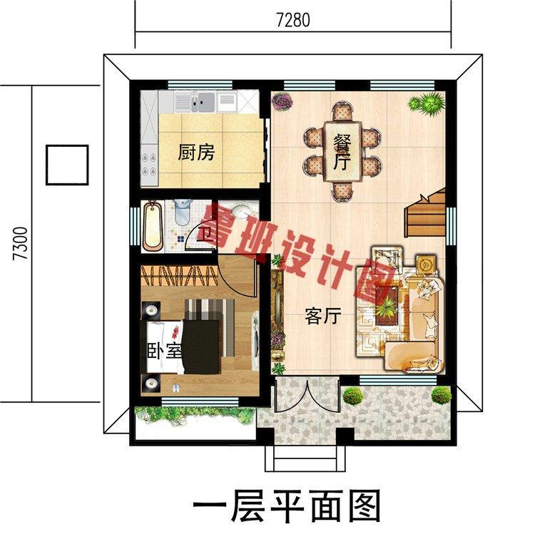 50平米的小户型二层别墅房屋设计图,主体8万起,经济实用