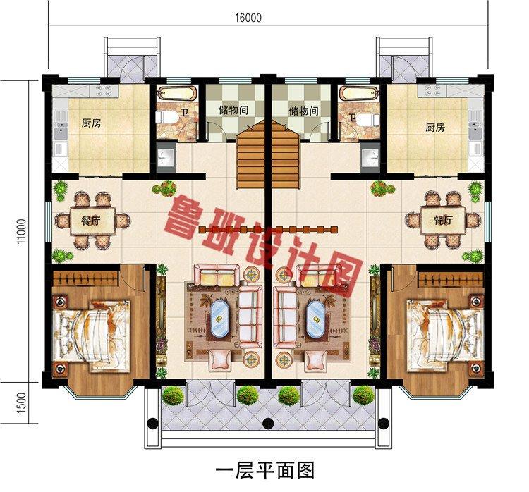 双拼二层半兄弟共建房屋设计图,农村自建别墅推荐