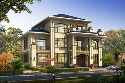 超级豪华大户型三层欧式别墅设计图,经典豪宅外观图精致