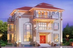 13.36×14.1米别墅三层设计效果图,全村属它最气派。