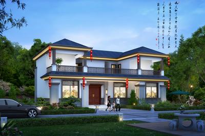 新中式带堂屋农村二层楼自建别墅设计图,外观图古韵十足