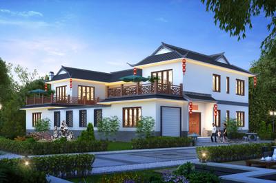 新款带车库二层中式风格四合院别墅设计图,含全套施工图效果图