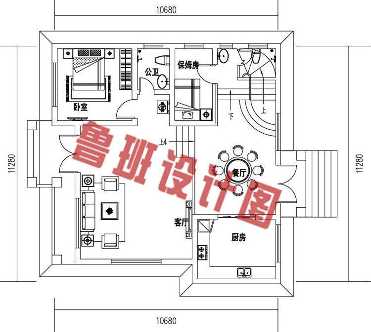 农村二层别墅设计一层户型图