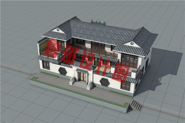 农村新中式二层四合院自建房设计图片