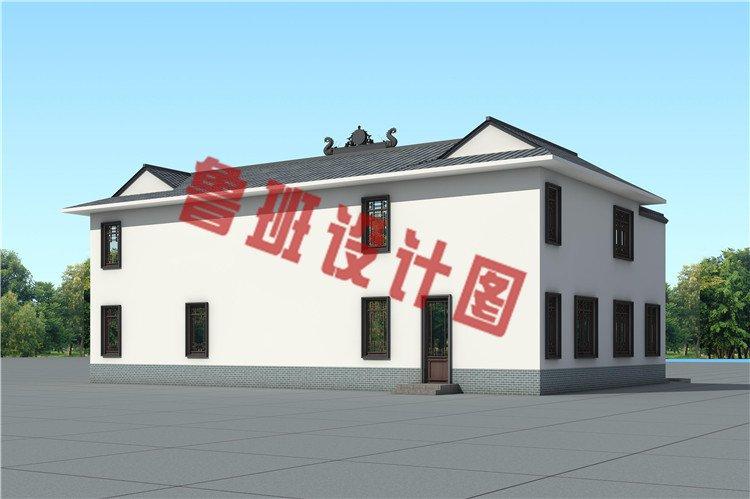 农村新中式二层四合院自建房设计外观图