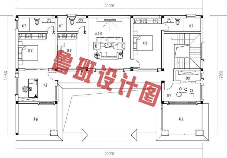 农村新中式二层四合院自建房设计二层户型图