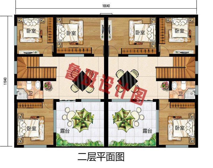 新中式二层双拼别墅设计图,200平左右户型方案
