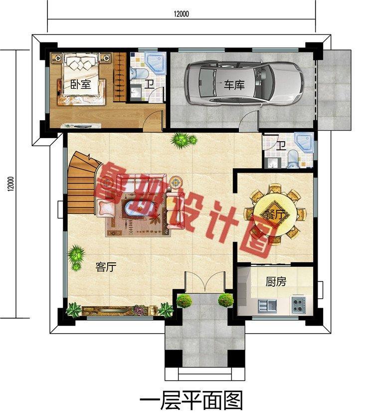 复式带车库四层别墅设计图,占地140平方米,含外观图片