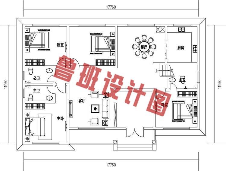 主体造价只要10万-15万的一层小别墅住宅设计一层户型图