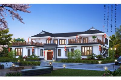 最美农村二层中式四合院别墅设计图效果图片,兄弟双拼户型