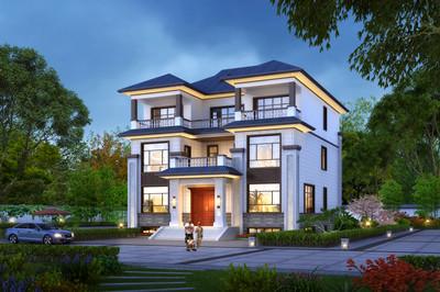 超大气新中式风格三层别墅豪宅设计图户型图,带地下室层