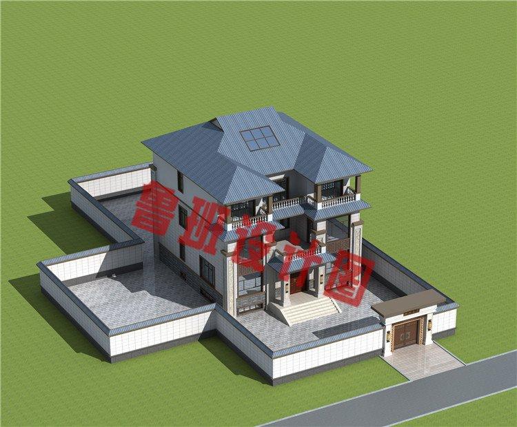 带地下室三层新中式风格别墅设计外观图