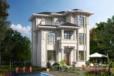 经典小户型欧式农村三层楼别墅设计图,外观图片简洁大方