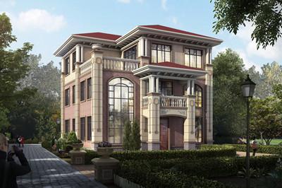 大气三层复式自建房图片及全套别墅施工设计图,户型方正