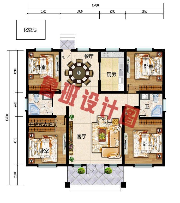 造价17万漂亮实用一层别墅图片及设计图,含外观效果图